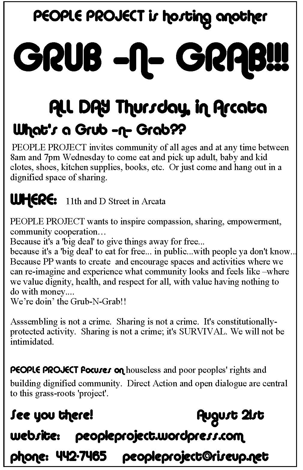 GRUB-N-GRAB Thursday August 21 ARCATA | PEOPLE PROJECT