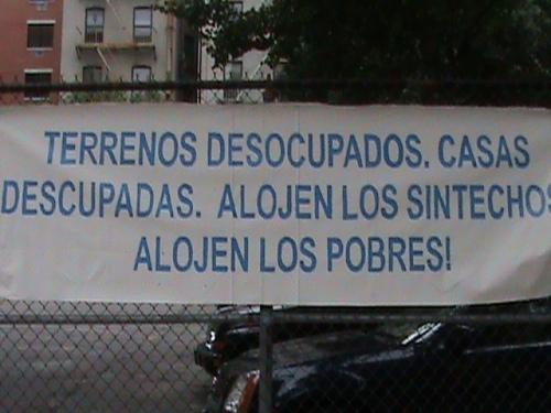 Terrenos Desocupados.  Casas Desocupadas.  Alojen Los Sintechos.  Alojen Los Pobres!